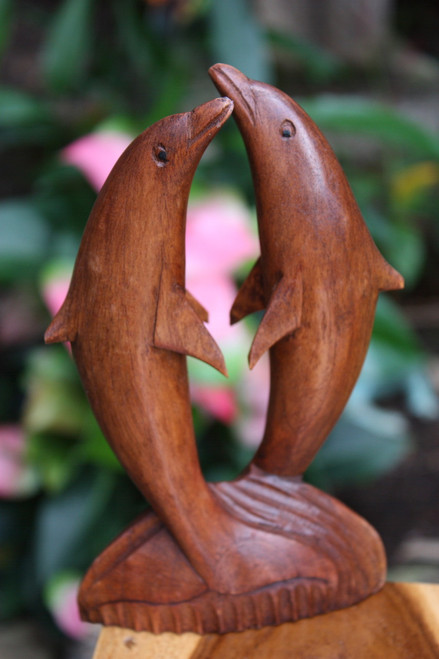 "Kissing Dolphin Jumping 8"" Stained - Hand Carved 