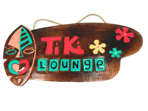 "Tiki Bar Sign Lounge w/ Hand Carved Tiki 20"" - Tiki Bar Decor 