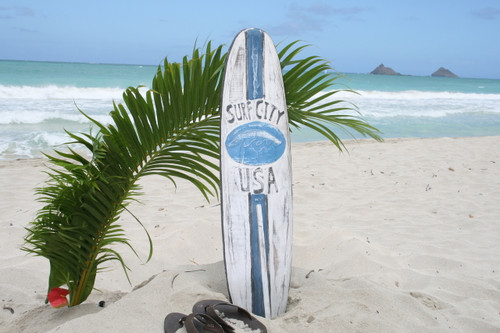 """SURF CITY, USA"" SURF SIGN W/ FIN 40"" - SURFING DECOR 2"