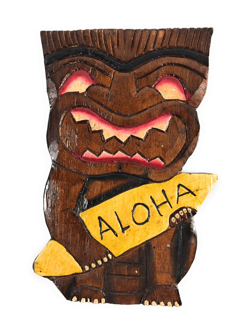 "Surfing Tiki Mask 8"" w/ Aloha - Wall Plaque Hand Carved 