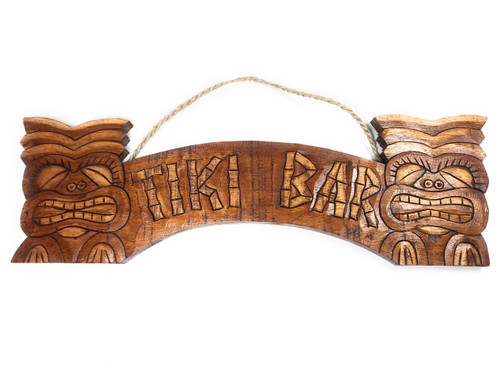 "Tiki Sign w/ Hand Carved Tikis 20"" - Tiki Bar Decor 