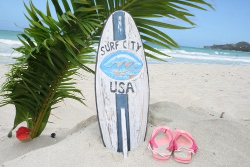 """SURF CITY, USA"" SURF SIGN W/ FIN 20"" - SURFING DECOR 2"