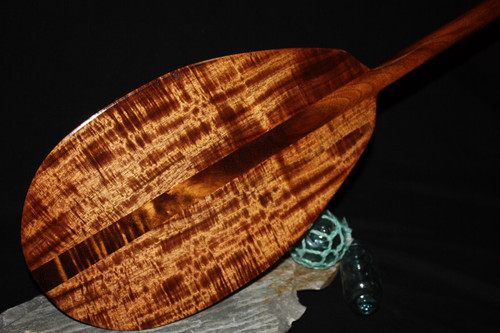 "AAA Tiger Curl Koa Outrigger Paddle 50"" T-handle - MADE IN HAWAII 2"