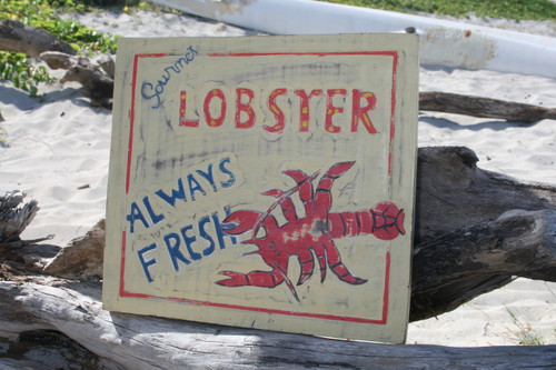 """LOBSTER, ALWAYS FRESH"" VINTAGE GOURMET SIGN 14"" - RESTAURANT DECOR"