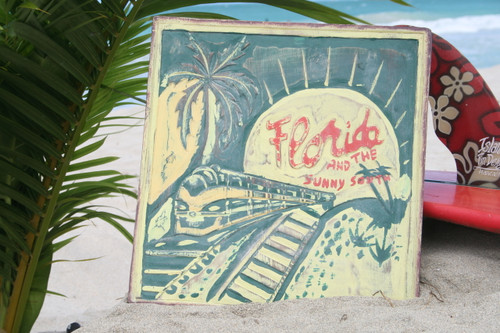 """FLORIDA & THE SUNNY SOUTH"" VINTAGE FLORIDA SIGN 14"" - RESTAURANT DECOR"