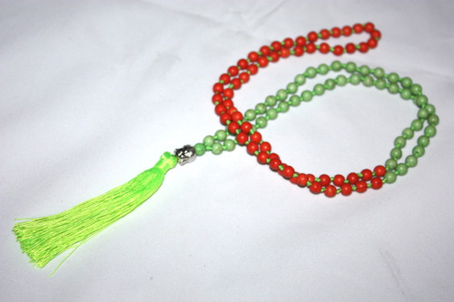 Tassel Necklace Green/Orange Beads Buddha Silver Tone Jewelry | #cik3604go
