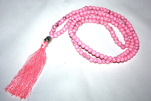 Pink Bead Resine Buddha Silver Tone Tassel Necklace Jewelry | #cik3605p