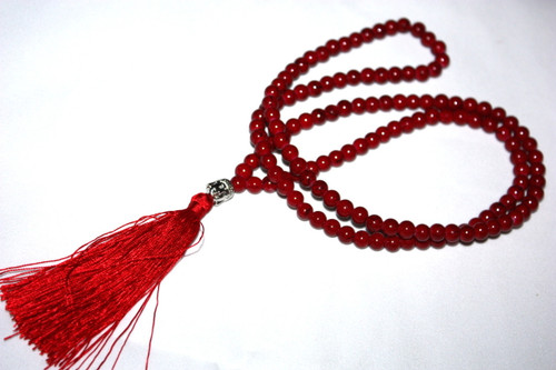 Red Bead Resine Buddha Silver Tone Tassel Necklace Jewelry | #cik3605p