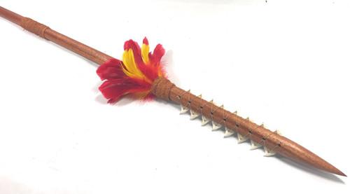 "Hawaiian Koa Spear 60"" w/ 16 Shark Teeth & Red-Yellow Feathers   #koa37f"
