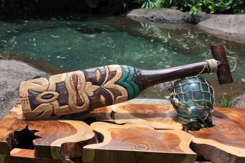 "TIKI PADDLE 22"" HAND CARVED & PAINTED 2"