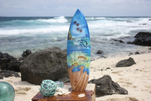 "Surfboard w/ Island Sealife 20"" - Surf Decor Hawaii - Trophy"