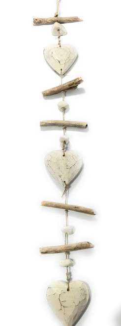 """Driftwood Garland Hearts w/ White Stone 40"""" White - Cottage Accents 