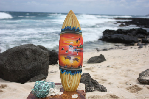 "Surfboard w/ Island Sunset 20"" - Surf Decor Hawaii - Trophy"