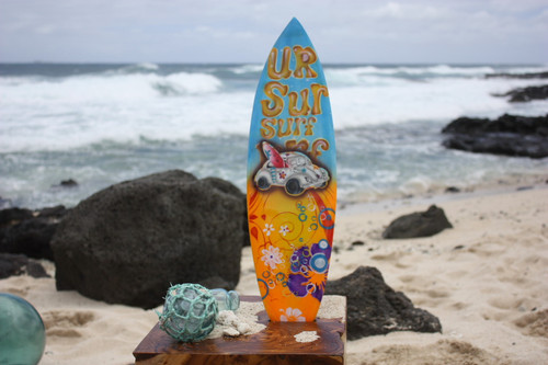 "Surfboard w/ VW Bug 70's Style 20"" - Surf Decor Hawaii - Trophy"