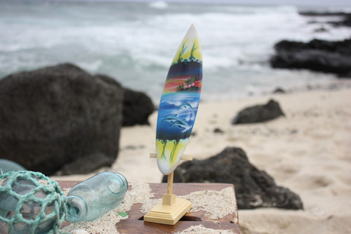 "Surfboard w/ Stand Dolphins In Shorebreak Design 6"" - Trophy"