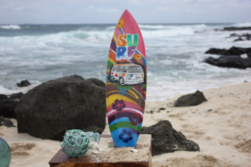 "Surfboard w/ VW Van 70's Style 20"" - Surf Decor Hawaii - Trophy"