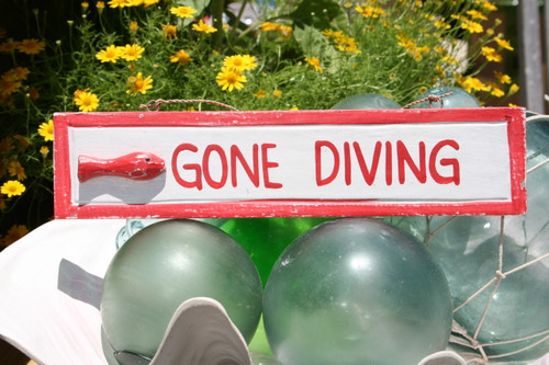 """GONE DIVING"" NAUTICAL SIGN 12"" RED - BEACH DECOR"