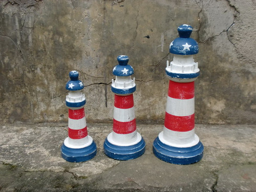 Set of 3 Lighthouses - Americana Flag Decor - USA