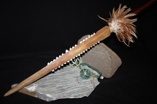 "Hawaiian Koa Spear w/ Sailfish Bill and 36 Authentic Shark Teeth - 46"" Long"
