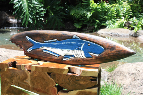 "Shark Bite Surf Sign w/Fish - 40"" - Surf Decor"