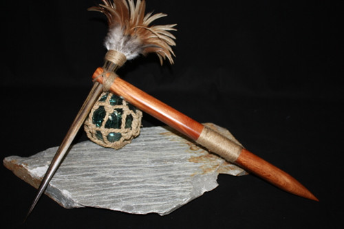"Koa Axe w/ Blue Marlin Bill & Rooster Feathers 20"" - Hawaiian Art"