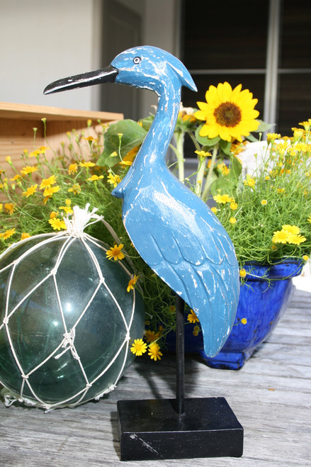 """HERON BIRD"" - RUSTIC BLUE COASTAL 14"" - GARDEN/HOME DECOR"