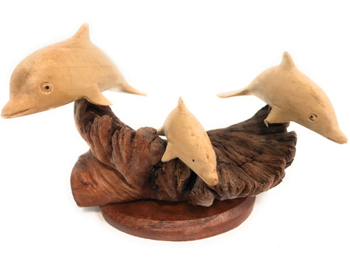 "Set of 3 Dolphins on Driftwood Base 7"" X 7"" - Carved 