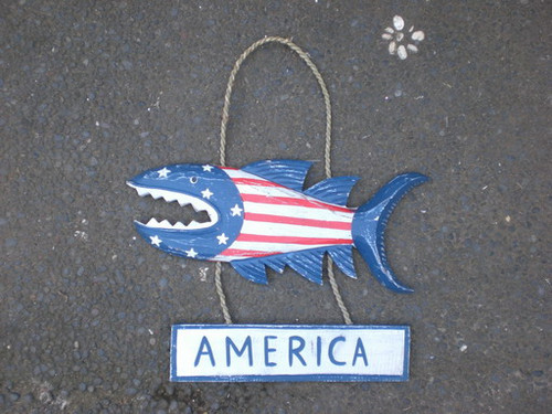 """America"" Shark Attack Sign 15"" - Americana Decor 