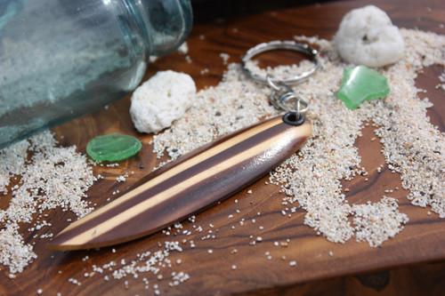 Keychain Wooden Surfboard w/ Dual Stringers - Hawaiian Style