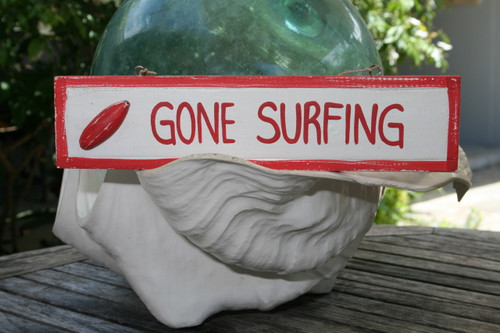 """GONE SURFING"" NAUTICAL SIGN 12"" RED - BEACH DECOR"