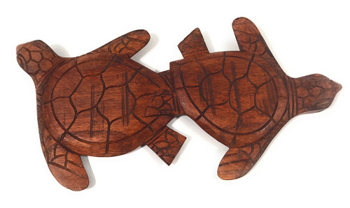 "Carved Turtles Wall Plaque 12"" X 6"" - Hawaiian Decor 