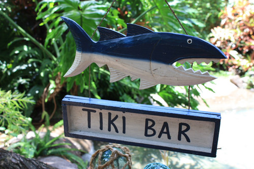 """Tiki Bar"" Shark Attack Sign Blue - Tiki Bar Decor"