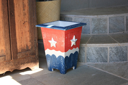 "Planter/Waste Bin Americana Style 12"" - Cottage Decor 2"