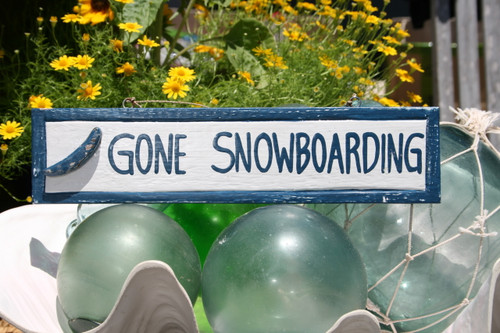 """GONE SNOWBOARDING"" NAUTICAL SIGN 12"" BLUE - BEACH DECOR"