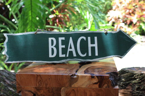 """Beach"" Olive Green Driftwood Sign 20"" - Beach Decor"