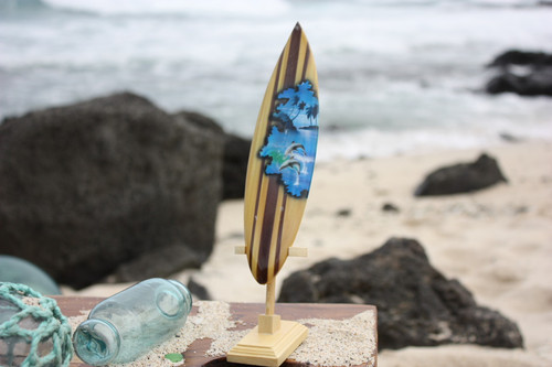 "Surfboard w/ Stand Dolphins Design 8"" - Trophy"