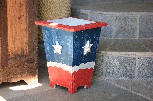 "Planter/Waste Bin Americana Style 12"" - Cottage Decor 3"