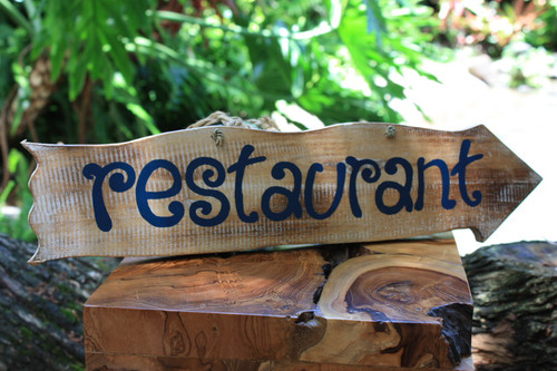 """Restaurant"" Driftwood Sign 20"" - Tiki Bar Decor"
