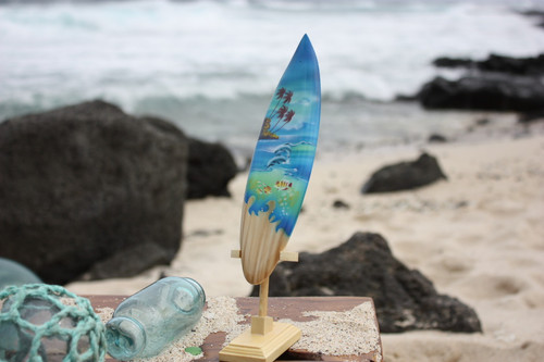 "Surfboard w/ Stand Island Sealife Design 8"" - Trophy"