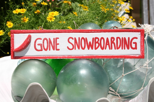 """GONE SNOWBOARDING"" NAUTICAL SIGN 12"" RED - BEACH DECOR"