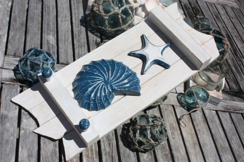 """SHELL & STARFISH"" HANGER 20"" - WHITE COASTAL"