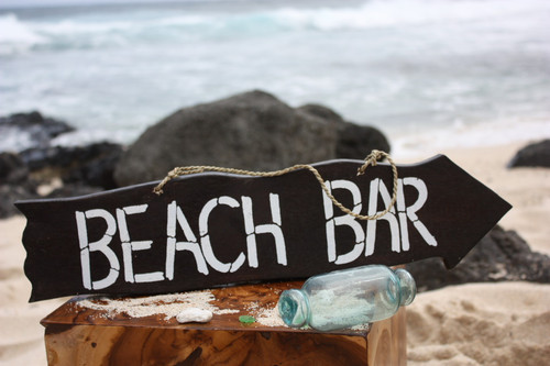 """Beach Bar"" Driftwood Sign 20"" - Tiki Bar Decor"