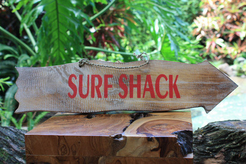 """Surf Shack"" Driftwood Sign 20"" - Tiki Bar Decor"