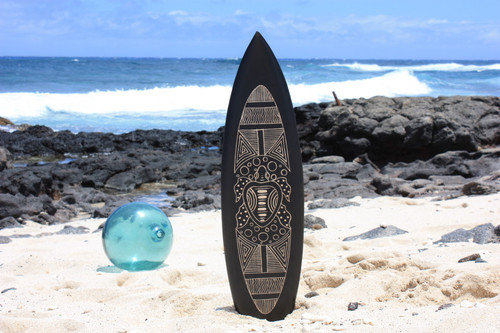 "Wooden Surfboard w/ Tribal Turtle 30"" - Hawaii Decor"