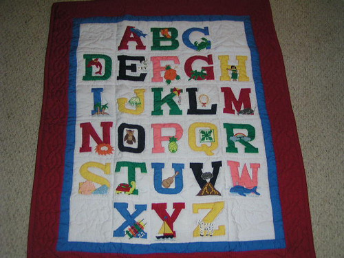 """HAWAIIAN ABC BABY QUILT - 46"""" X 39"""" - LEARNING QUILT"""