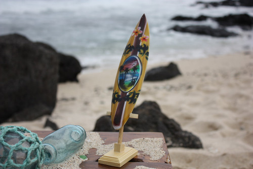 "Surfboard w/ Stand Palms & Plumeria Design 8"" - Trophy"