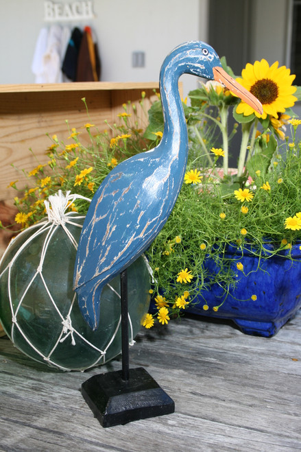 """EGRET BIRD"" - RUSTIC BLUE COASTAL 14"" - GARDEN/HOME DECOR 4"