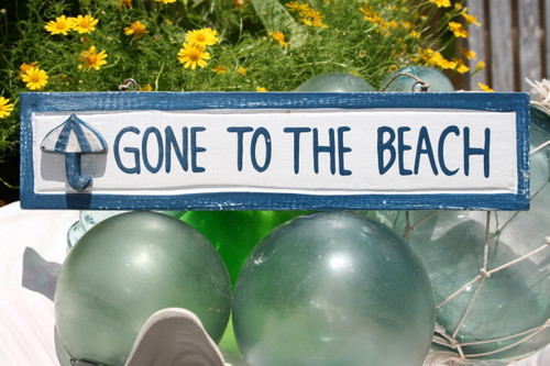 """GONE TO THE BEACH"" NAUTICAL SIGN 12"" BLUE - BEACH DECOR"