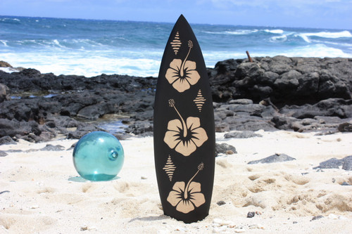 "Wooden Surfboard w/ Hibiscus Flowers 30"" - Hawaii Decor"