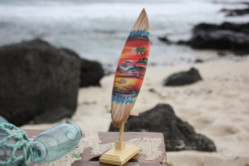 "Surfboard w/ Stand Sunset Design 8"" - Trophy"